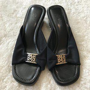 Brighton Isabel Black Sandals Silver Charm 7.5